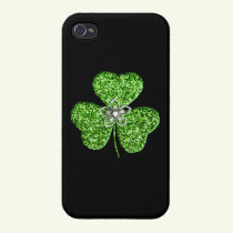 Glitter Shamrock And Flower iPhone 4 Cases
