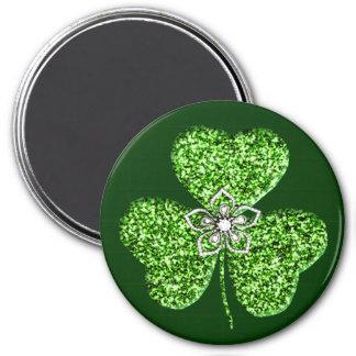 Glitter Shamrock And Flower Magnet