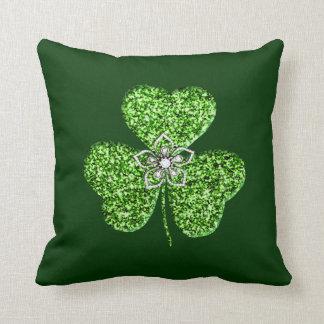 Glitter Shamrock And Flower Throw Pillow