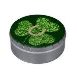 Glitter Shamrock And Horseshoe Candy Tin