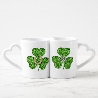 Glitter Shamrock Mug Set Couples' Coffee Mug Set