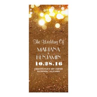 glitter shimmer golden blush string lights program personalized rack card