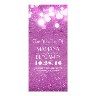 glitter shimmer purple string lights program rack card design