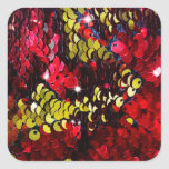 Glitter shine sequins coins red yellow fashion sty square sticker