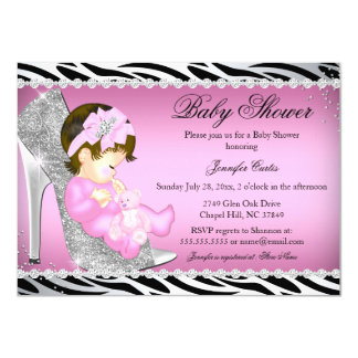 Glitter Shoe Baby Girl Baby Shower B 4.5x6.25 Paper Invitation Card