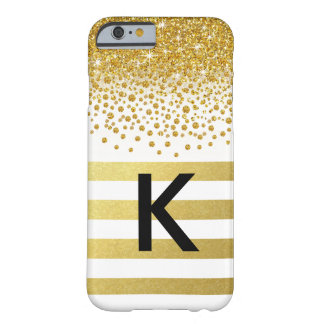 Glitter Shower Gold Foil Stripes Monogram | white Barely There iPhone 6 Case