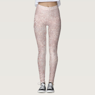 Glitter Silver Brush White Pink Rose Grill Sparkly Leggings