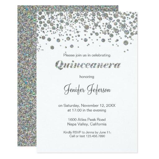Glitter silver confetti Quinceanera Invitation | Zazzle