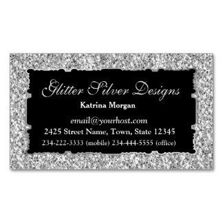 Glitter Silver Elegance Magnetic Business Card