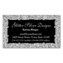 Glitter Silver Elegance Magnetic Business Card Magnetic Business Cards