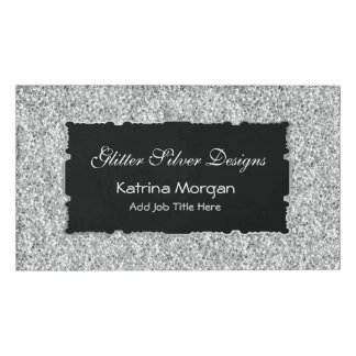 Glitter Silver Elegance Name Tag