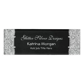 Glitter Silver Elegance Skinny Name Tag