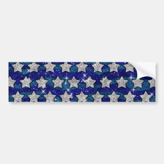 Glitter Silver Stars Glitter Blue Waves Sparkle Bumper Sticker