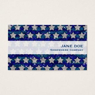 Glitter Silver Stars Glitter Blue Waves Sparkle Business Card