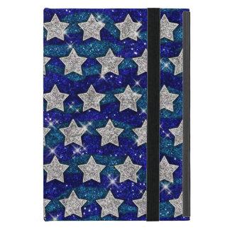 Glitter Silver Stars Glitter Blue Waves Sparkle Case For iPad Mini