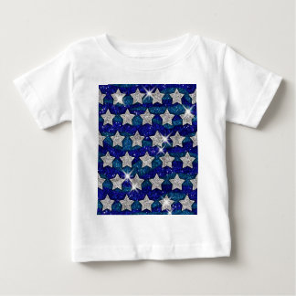 Glitter Silver Stars Glitter Blue Waves Sparkle T-shirt