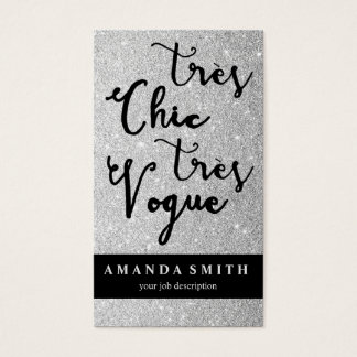 Glitter Silver Tres Chic Fashion Boutique Model Business Card