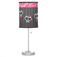 Glitter Skull Dia de Los Muertos Day Of the Dead Table Lamp