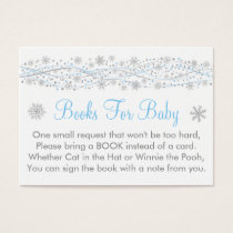 Glitter Snowflake Baby Shower Book Request Cards