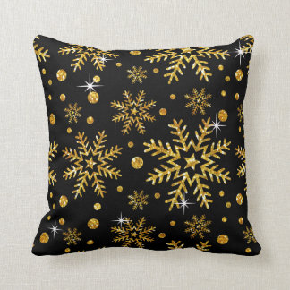 Glitter Snowflake Flurries CHOOSE BACKGROUND COLOR Throw Pillow