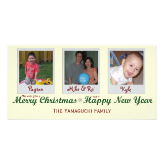 Glitter Snowflake Merry Christmas Photo Card