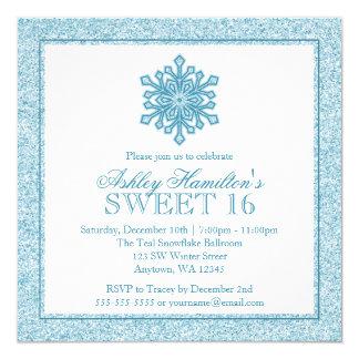 Glitter Snowflake Teal Sweet 16 Winter Wonderland Card