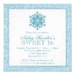 Glitter Snowflake Teal Sweet 16 Winter Wonderland Personalized Invitations
