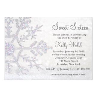 Glitter Snowflakes Sweet 16 Winter Invitation