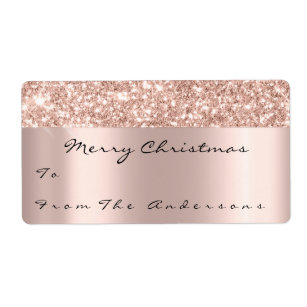 Glitter Spark Rose Gold Holidays Christmas Season Label