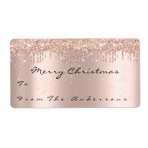 Glitter Spark Rose Snow Holidays Christmas Season Label