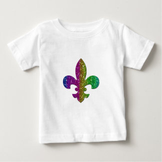 Glitter Sparkle Fleur De Lis Multi Color add name Baby T-Shirt