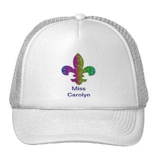 Glitter Sparkle Fleur De Lis Multi Color add name Trucker Hat