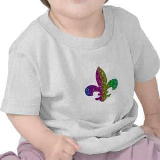 Glitter Sparkle Fleur De Lis Multi Color add name T-shirt