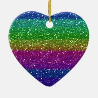 Glitter Sparkle Rainbow Colorful Friend Family Art Ceramic Ornament