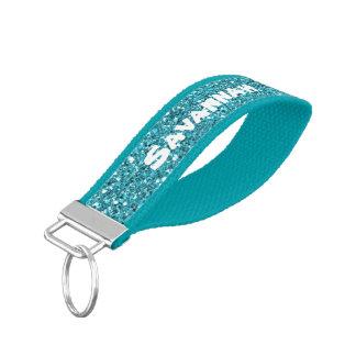 Glitter Sparkles Aqua Personalized Wrist Keychain