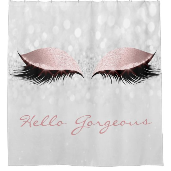 Glitter Sparkly Hello Gorgeous Gray Pink Girly Eye Shower Curtain