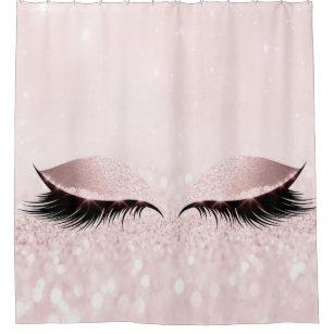 Glitter Sparkly Makeup Princess Pink Rose Eye Lash Shower Curtain