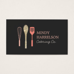 Bakery business cards 5200 bakery business card templates glitter spoon whisk spatula bakery catering logo business card reheart Choice Image