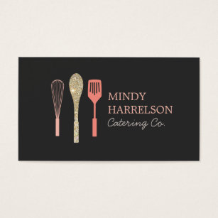 Catering business cards templates zazzle glitter spoon whisk spatula bakery catering logo business card flashek Gallery