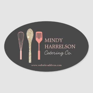 Glitter Spoon Whisk Spatula Bakery Catering Logo Oval Sticker