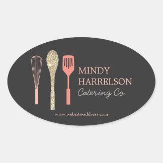 Glitter Spoon Whisk Spatula Bakery Catering Logo Oval Sticker