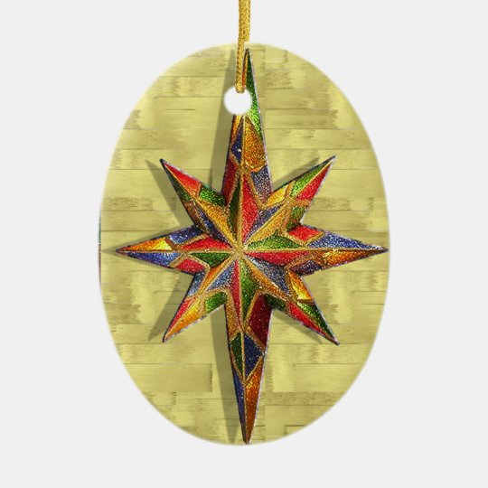 Glitter Star Ceramic Ornament