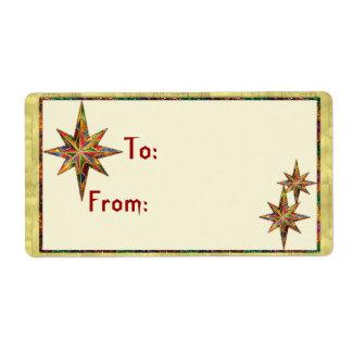 Glitter Star Gift Tag Custom Shipping Labels