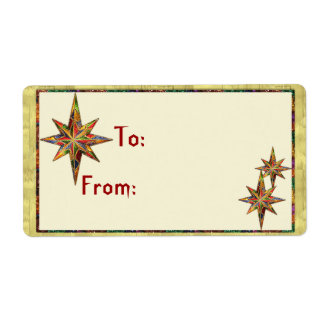 Glitter Star Gift Tag Shipping Label