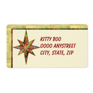 Glitter Star Large Custom Shipping Label