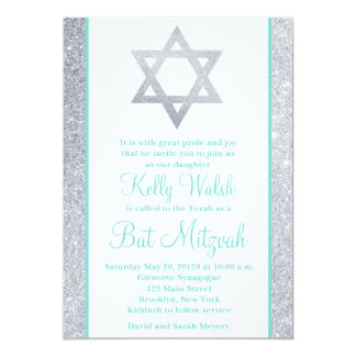 Glitter Star of David Bat Mitzvah Invitation