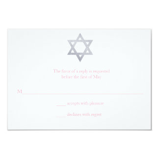 Glitter Star of David Bat Mitzvah RSVP Card
