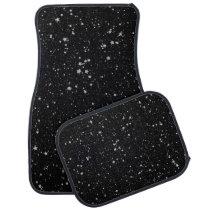 Glitter Stars2 - Silver Black Car Mat