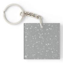 Glitter Stars4 - Silver Keychain