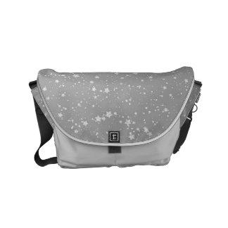 Glitter Stars4 - Silver Small Messenger Bag